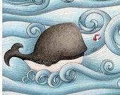 art mural - impression - baleine - oiseau - - eau - vagues - en bord de mer - illustration - « SURFANT sur les vagues! »