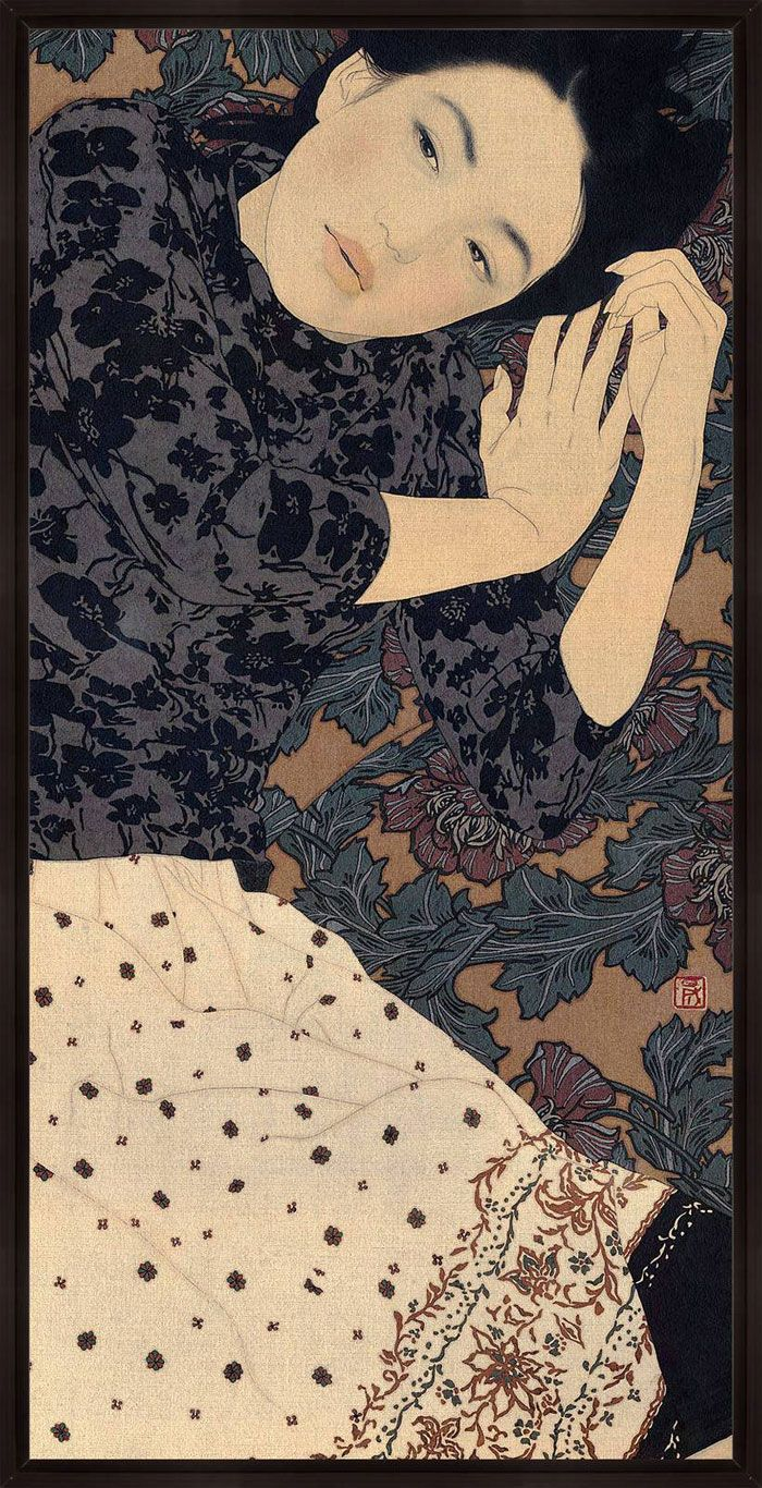 Ikenaga Yasunari  / Shima, 035 / 80cm x40cm / 2007 / Linen Canvas / Mineral pigments / Gelatin glue / Soot ink / The Japanese Art of Nihonga