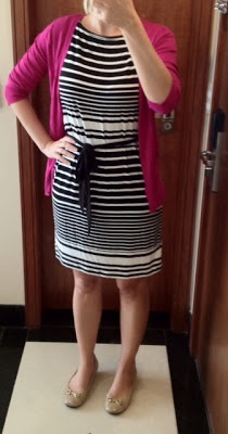 Outfit Posts: outfit post: black and white striped dress, pink cardigan