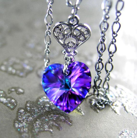 Purple Valentines Day Heart Necklace Antiqued by DorotaJewelry