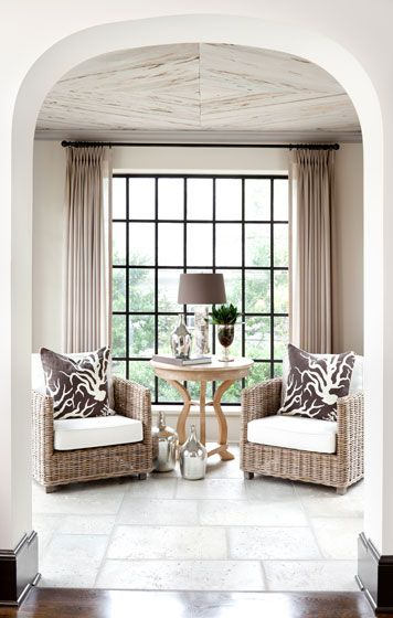 good sitting room. good ceiling.: Coral Pillows, Window Curtains, Ceilings Treatments, Living Rooms, Ceilings Design, Beautiful Ceilings, Small Spaces, Wicker Chairs, Decor Interiors