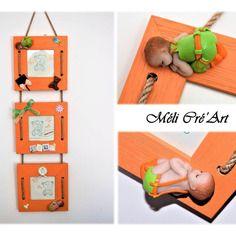 Triple cadre photos bébé enfant orange et vert pâte polymère fimo