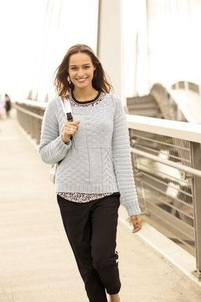 Klassischer Damenpullover mit einfarbigen Musterteilen - Strickanleitung via Makerist.de #strickenmitmakerist #stricken #strickenmachtglücklich #strickenisttoll #knitting #knit #knittersoftheworld #knittersofinstagram #knitwear #strickliebe #strickanleitung #strickmode #diy #diyproject #pullover #sweatshirt #knit #damen #frauen