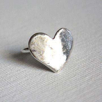 Flat Heart Ring in Silver by Rachel Pfeffer.