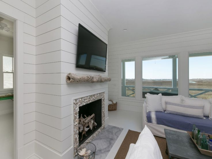 Vaulted Ceiling Fireplace Shiplap Wall With Fireplace