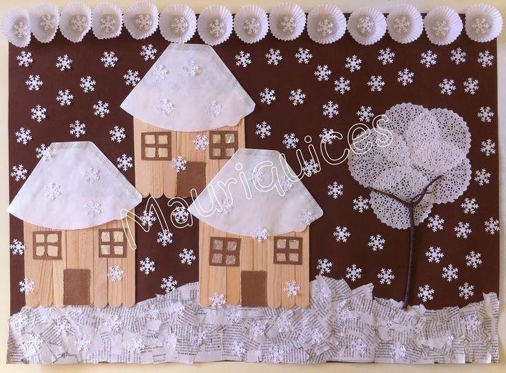 Nádherná zimní koláž ze zajímavých materiálů - domečky z dřevěných špachtlí a kávových filtrů, strom a obloha z košíčků na muffiny. Ke tvoření se dá s trochou fantazie využít opravdu všechno :o)