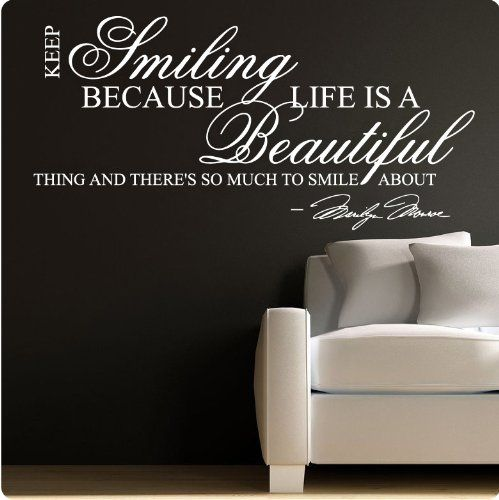 Marilyn monroe white keep smiling wall sticker decal for Nice white wall decal quotes