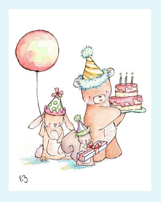 Children Art Print. Let's Have a Party. PRINT 8X10. by LoxlyHollow
