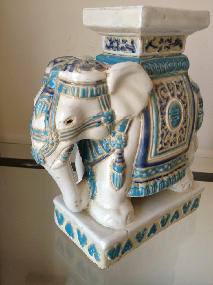 Vintage Ceramic Elephant Plant Stand In Light Blues