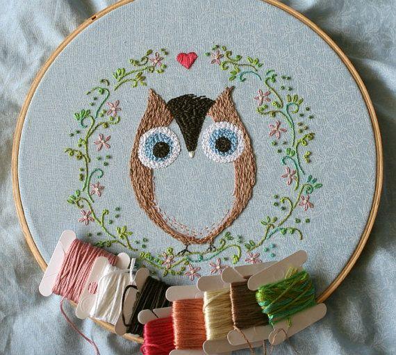 Embroidery pattern 7 Ofelia Owl by Threekitchenfairies on Etsy, $4.50