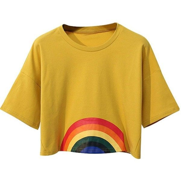 Rainbow Crop Top (1.250 RUB) ❤ liked on Polyvore featuring tops, brown crop top, cropped tops, cut-out crop tops and brown top