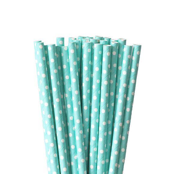 papierowe słomki w stylu retro błękitne w białe kropeczki 25 szt na przyjęcia, urodziny
