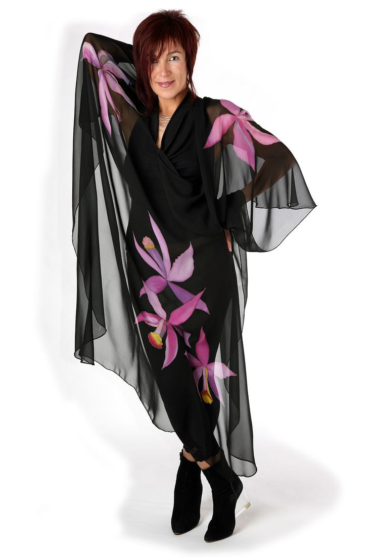 Orchids - Hand painted silk cape by Natasha Foucault, represented by Human Arts Gallery in Ojai, CA.