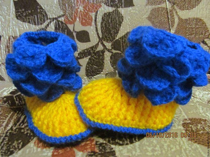 Купить Пинетки Крокодильчики. - тёмно-синий, пинетки для новорожденных, подарок для детей, Вязание крючком