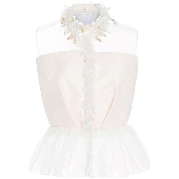 DELPOZO Embroidered Silk Moire Shirt (9,380 SAR) ❤ liked on Polyvore featuring tops, silk shirt, white silk top, sleeveless shirts, embroidered shirts and peplum tops