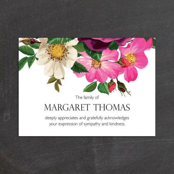 Spring Flowers Sympathy Memorial Funeral Thank by FoxDigitalDesign, $17.50