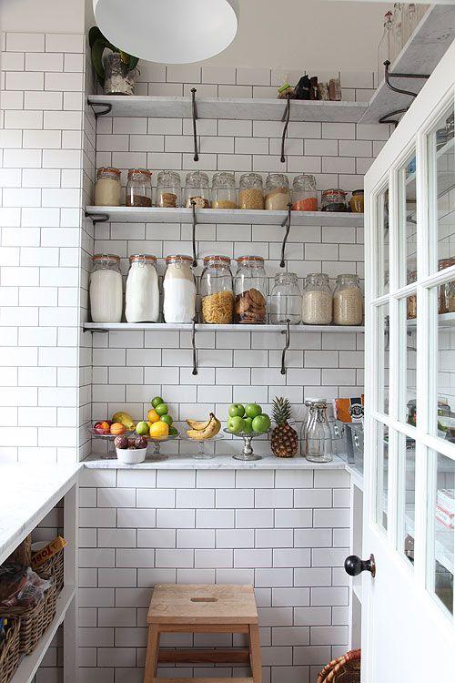 .Kitchens, Dreams Pantries, Open Shelves, Organic Pantries, Storage Jars, White Subway Tile, Subway Tiles, Mason Jars, Open Shelving