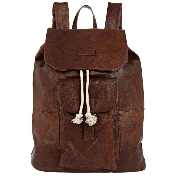 Dark brown leather look rucksack with front pouch compartment, width 32cm, height 43cm. 100% Polyurethane.