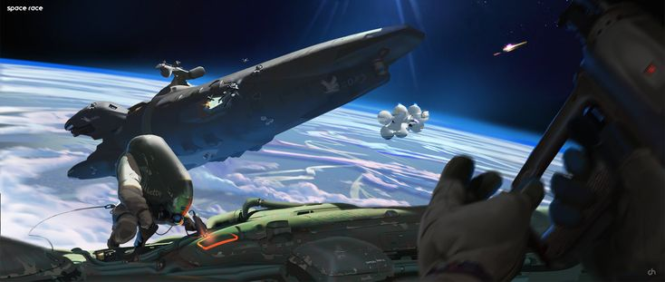 Space Race Gameplay View, David Heidhoff on ArtStation at https://www.artstation.com/artwork/space-race-gameplay-view
