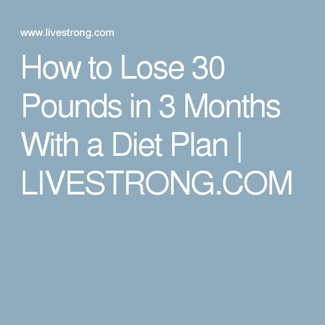 How to Lose 30 Pounds in 3 Months With a Diet Plan | LIVESTRONG.COM