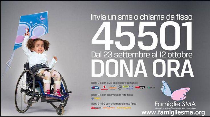 Riparte la campagna di sostegno a Famiglie SMA, l'Associazione dei familiari di persone affette da atrofia muscolare spinale  Il 5 e 6 ottobre saranno allestiti banchetti in tutta Italia. http://www.famigliesma.org