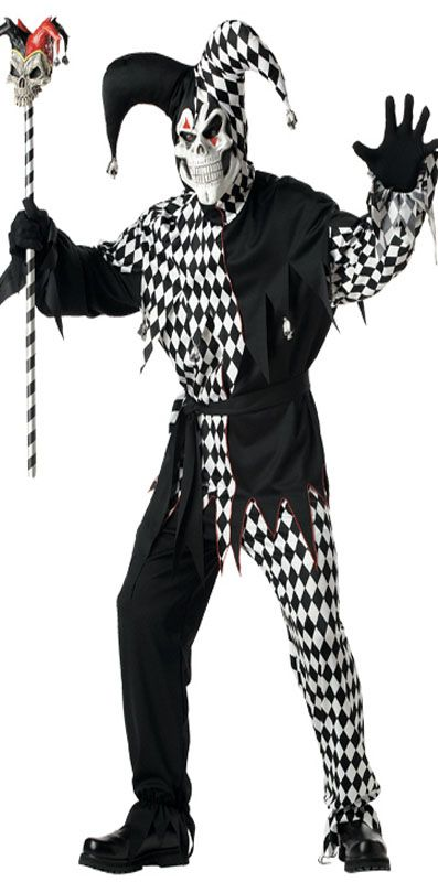 Black and White Evil Jester Costume. Perfect for creepy carnival or creepy circus themed Halloween parties, creepy clown, creepy circus and creepy carnival fancy dress, creepy circus themed Halloween party decorations, creepy clown themed Halloween party decorations and creepy carnival themed Halloween party decorations.