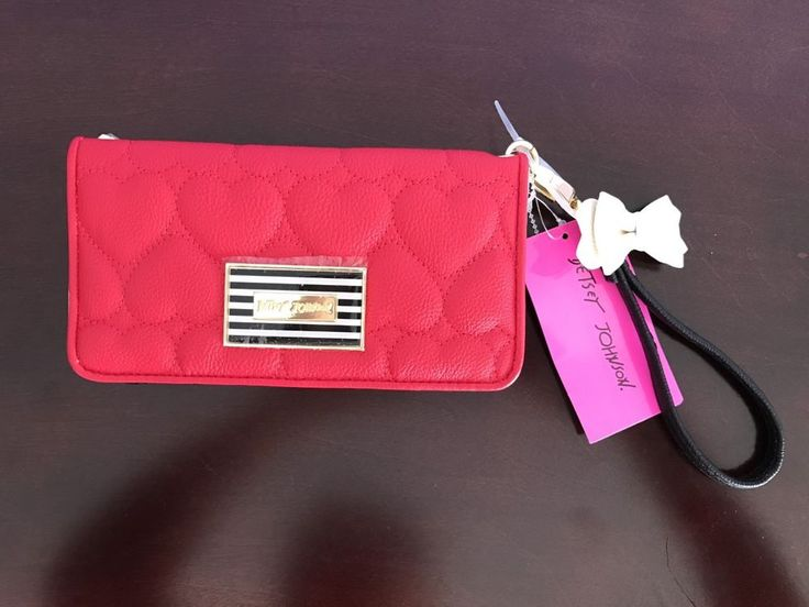 Betsey Johnson Wristlet Wallet Red & Black Multi Compartment Clutch NWT  | eBay