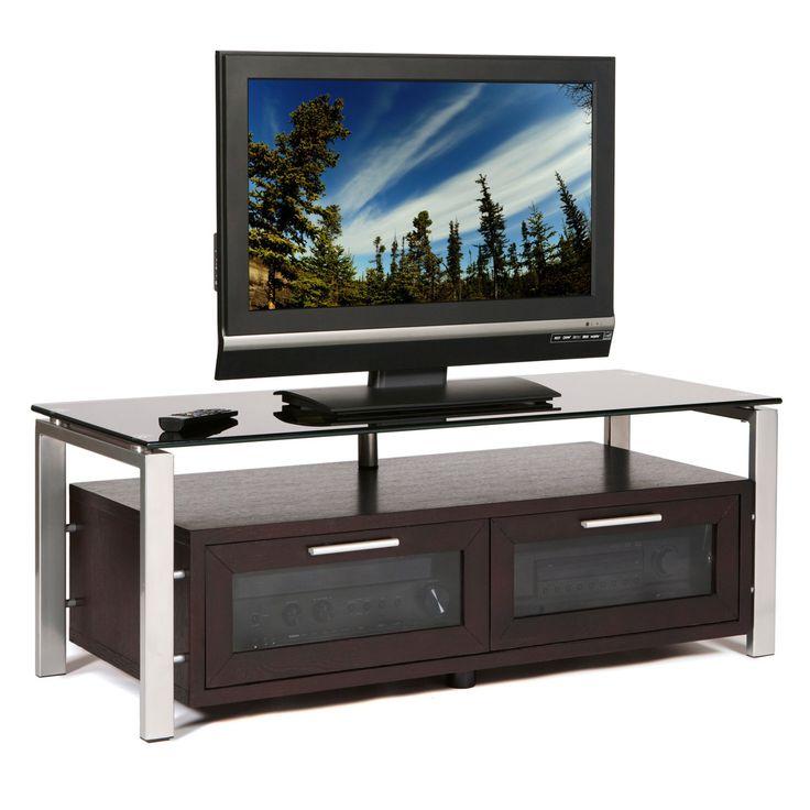 Plateau Decor 50 Inch TV Stand in Espresso/Black and Silver - DECOR 50 (E)-S-BG
