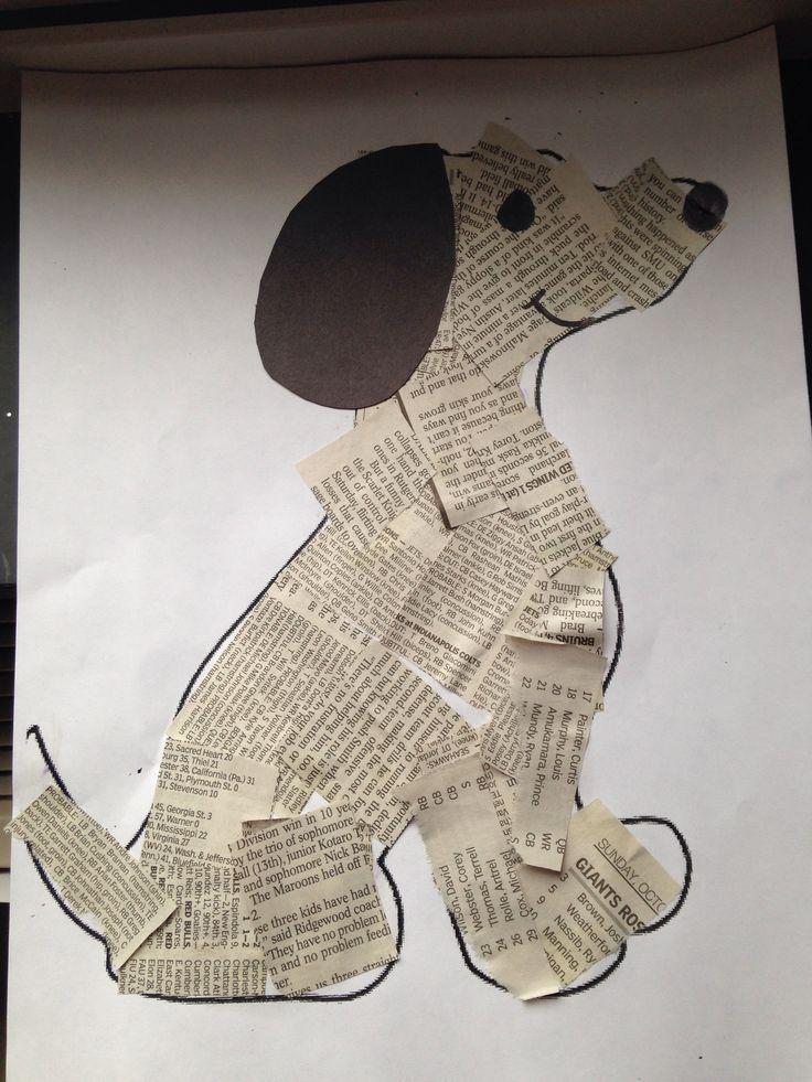 Hacer gato de papel de periódico: aula de arte, collage de periódicos, periódico Cr …