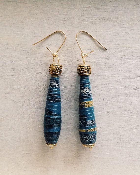 Modello a goccia carta blu oro orecchini tallone
