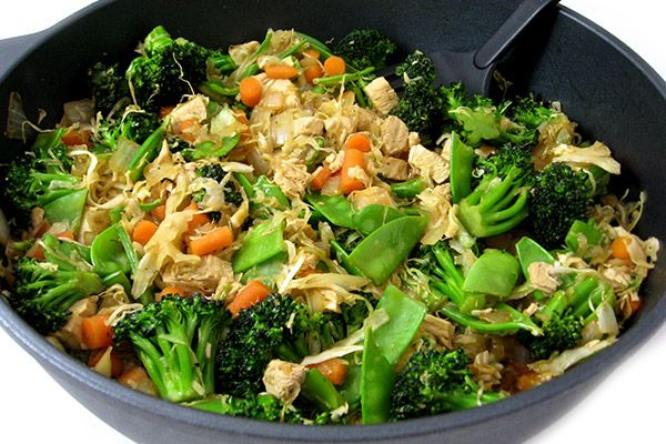 A stir fry makes a terrific dinner since it come together really quickly and can be made very healthy.  This skinny one is chock full of broccoli, pea pods, carrots, cabbage, onions and lean chicke…