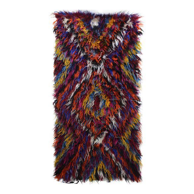 Image of Turkish Shaggy Hand Woven Mohair Tulu Kilim Runner Rug - 3′6″ × 7′3″