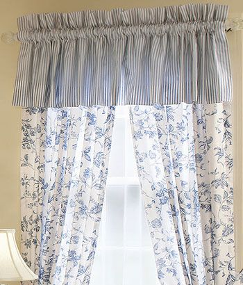 Sophia Ticking Valance & Sophia Toile Rod Pocket curtain