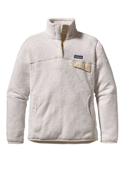 Women's Re-Touch Snap Top Pullover in Raw Linen and White by Patagonia is made form super soft and warm deep-pile 100% polyester fleece (51% recycled) has extra-long fibers to retain warmth. This pull