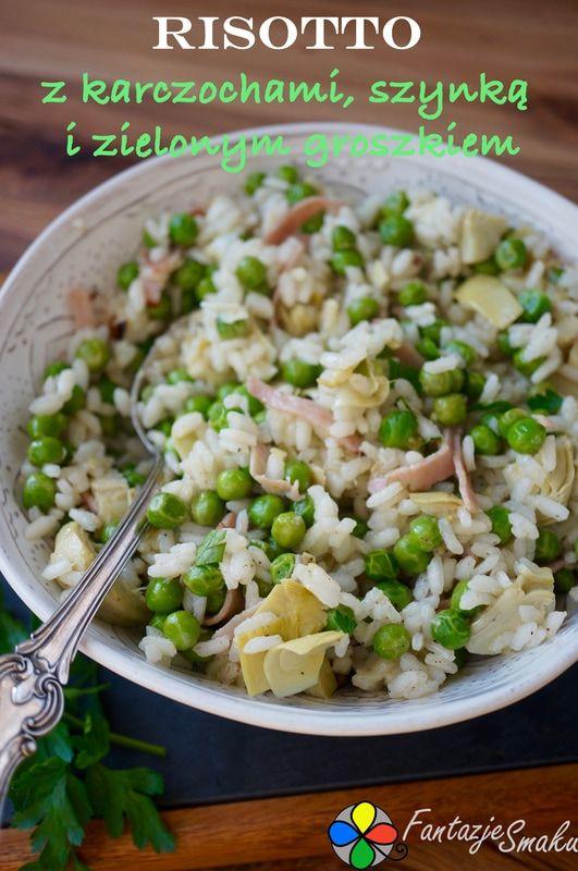 Risotto z karczochami, szynką i zielonym groszkiem http://fantazjesmaku.weebly.com/blog-kulinarny/risotto-z-karczochami-szynka-i-zielonym-groszkiem