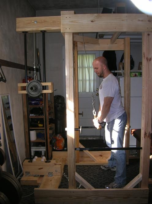 Homemade power rack and lat tower fitness stuff at home gym diy