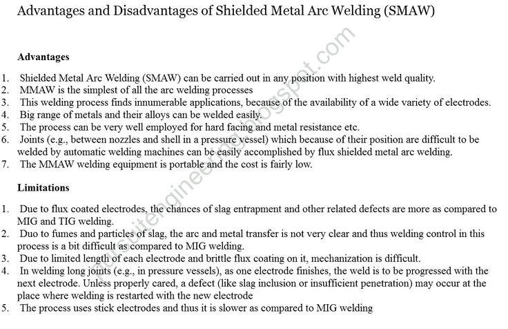 Advantages and Disadvantages of Shielded Metal Arc Welding (SMAW)