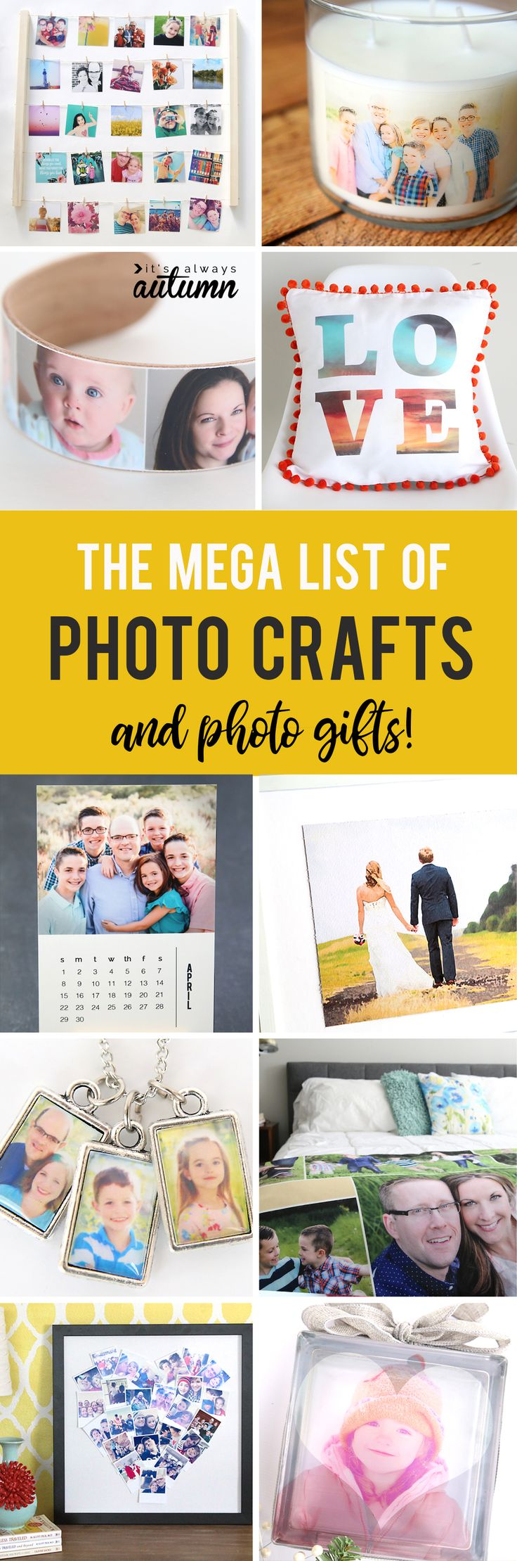This is the best list of DIY photo crafts and photo gifts! Over 40 ideas for photo projects you can make.