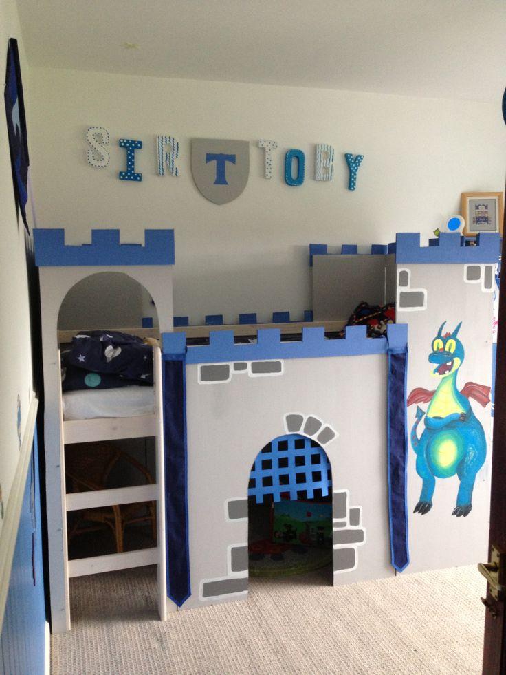 Boys homemade blue grey castle bedroom.