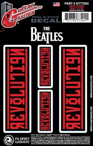 Planet Waves Beatles Guitar Tattoo Sticker, Revolution by Planet Waves. $6.49. From the Manufacturer                From Love Me Do to Revolution, the Beatles were arguably the most creative, diverse and prominent band in pop music history. Planet Waves honors the Beatles' legacy with a unique collection of Guitar Tattoos, in addition to their line of best-selling guitar picks and straps, featuring iconic album covers and timeless images that capture the enduring spirit and ...