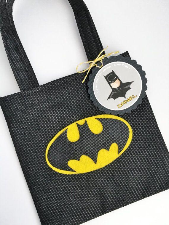 Set of 12 Batman Favor Bags with Personalized Thank You Tags, Batman Goody Bags, Batman Party Bags, Batman Birthday, Batman Party, Superhero