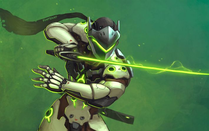 Download wallpapers Genji, sword, characters, cyber warrior, Overwatch