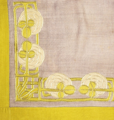 Jessie Newbery (1864-1948) - Embroidered Corner Detail. Linen. Circa 1900.: Century Embroidery, Linens Details, Art Nouveau, Art Deco Pattern, Newbery Appliques, Craftsman Style, Crafts Embroidery, Arts And Crafts, Jessie Newbery