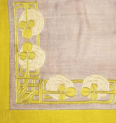 Jessie Newbery (1864-1948) - Embroidered Corner Detail. Linen. Circa 1900.