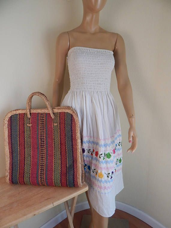 Mexican dress tube top dress embroidered muslin