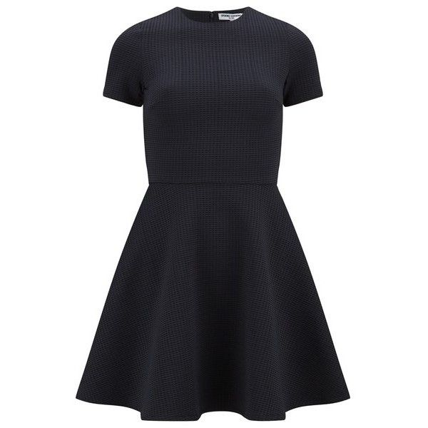 Opening Ceremony Women's Clos Short Sleeve Flare Dress - Black ($240) ❤ liked on Polyvore featuring dresses, black, black skater skirt, black fit and flare dress, skater skirt, short dresses and flared skirt
