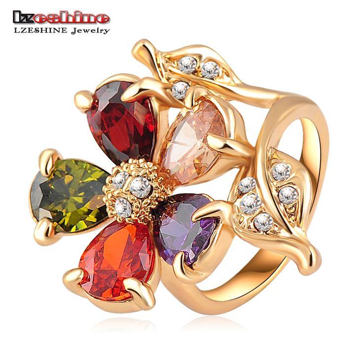 LZESHINE Fashion Gouden Plaat Multicolor Zircon Oostenrijkse Kristallen Prachtige Bloem Verlovingsringen Bruiloft Sieraden Ri-HQ0083