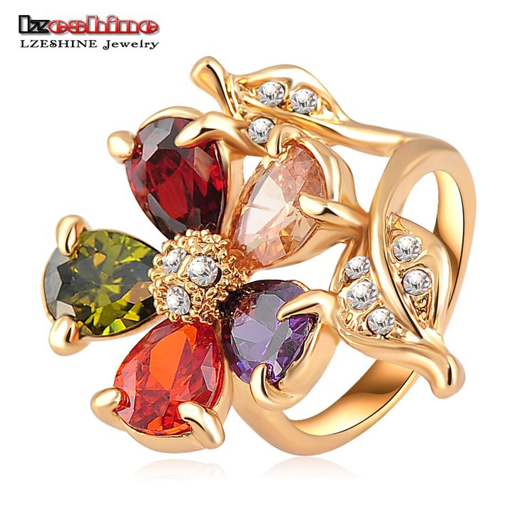 LZESHINE Fashion Gold Plate Multicolor Zircon  Austrian Crystals Gorgeous Flower Engagement Rings Wedding Jewelry Ri-HQ0083