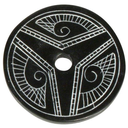 "Coal Pendant with Muisca Scroll #2  Crafted by Artisans in Colombia  Measures 1-3/4"" diameter and 1/8"" thick"