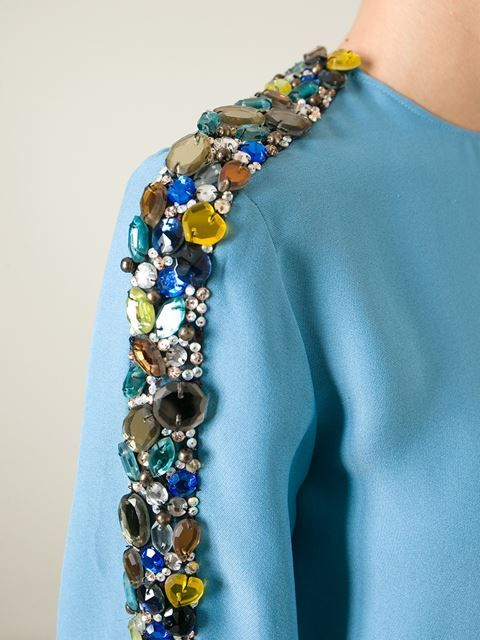 Blue silk blend jewelled top from Chloé featuring a round neck, three-quarter length sleeves, a concealed rear zip fastening and a straight hem.